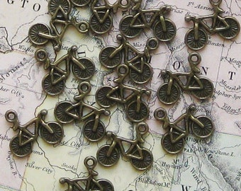 10 Bicycle Charms Antique  Bronze - BC162