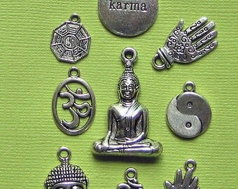 Buddha Charm Collection Antique  Silver Tone 9 Different Charms - COL093