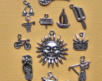 Summer Charm Collection Antique  Silver Tone 11 Different Charms - COL094