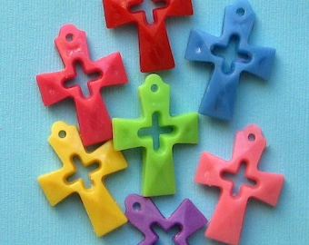 10 Cross Charms Kitschy Colorful Fun K58