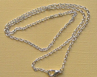 """6 Silver Plated Chain Necklaces 18"""" with Lobster Claw Clasps Great Quality - N2"""