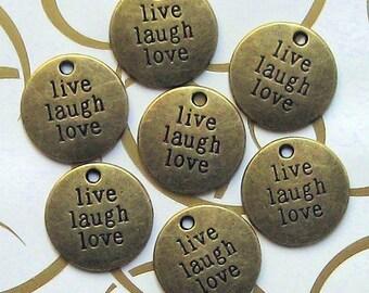 5 Live Laugh Love Charms Antique Bronze Tone - BC250