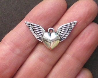4 Winged Heart Charms Antique  Silver Tone Great Quality and 2 Sided - SC1391