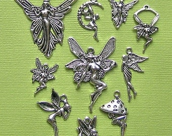 Fairies Charm Collection Antique  Silver Tone 10 Different Charms - COL107