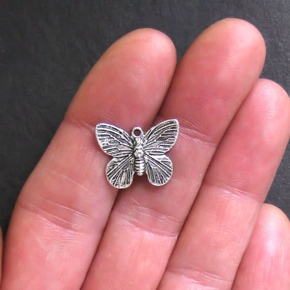10 Butterfly Charms Antique  Silver Tone 2 Sided - SC318