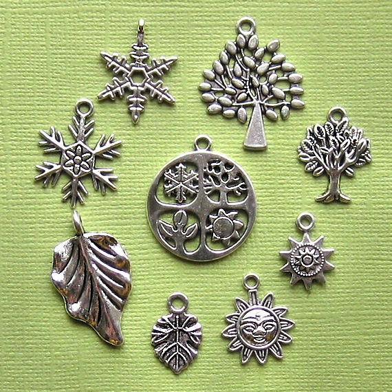 Four Seasons Charm Collection Antique  Silver Tone 9 Different Charms - COL016