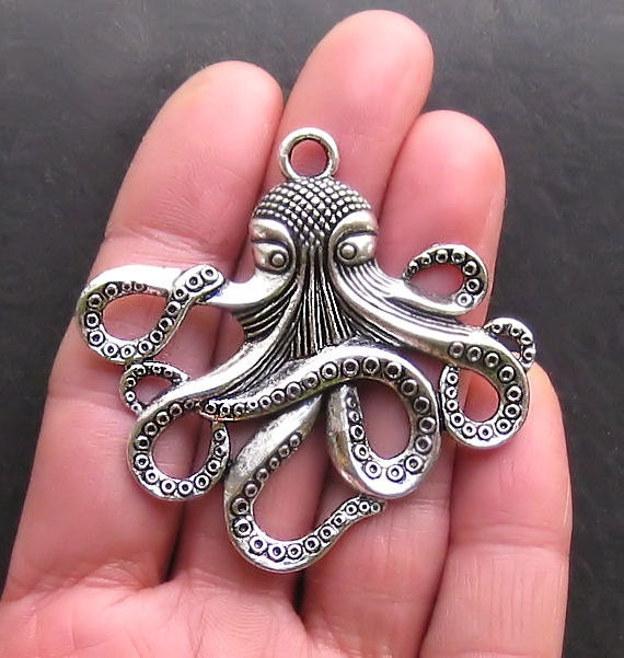 Large Octopus Charms Antique  Silver Tone Intricate and Beautiful - SC964