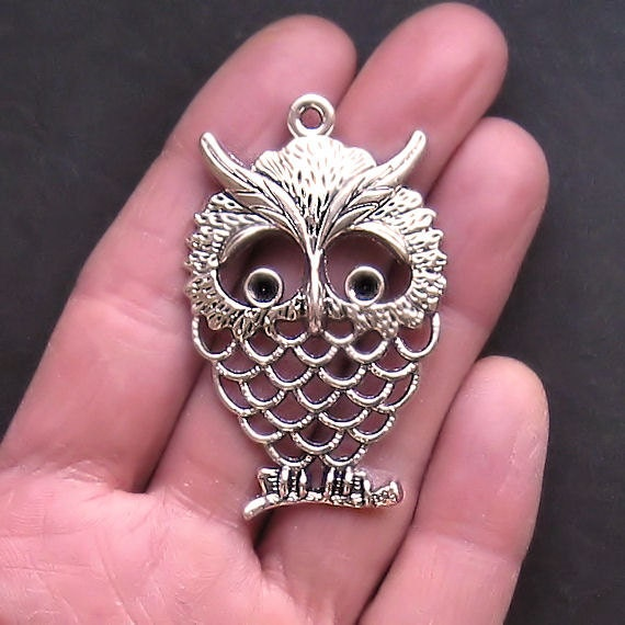 2 Huge Owl Charms Antique  Silver Tone with Beautiful Detail - SC989