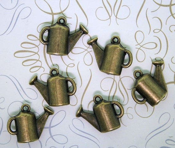 5 Watering Can Charms Antique Bronze Tone 3D - BC225