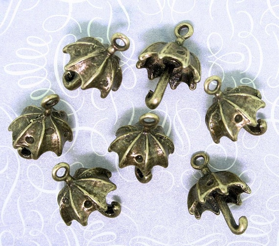 8 Umbrella Charms Antique Bronze Tone 3D Great for Spring - BC230