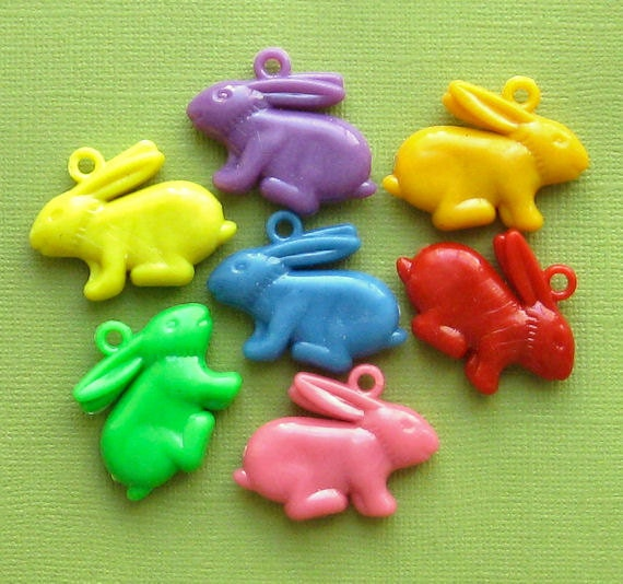 8 Rabbit Charms Kitschy Colorful and Just Plain Fun K10