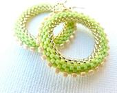 Lime green Hoop Earrings. Bead woven Light Green golden cream Pastel Spring Summer Fashion  jewelry