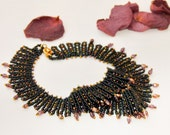 Nyx Goddess of Night beadwork Collar necklace  Oriental Statement Necklace  Fashion jewelry Neck adornment