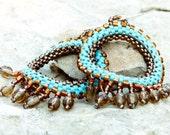 Pocahontas Turquoise Chandelier Earrings Native American Beadwork jewelry . Dangle Hoop short fringe earrings