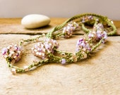 Honeysuckle green  pink crochet beaded necklace.  Versatile necklace / wrap bracelet / anklet / headband/ belt. Summer fashion