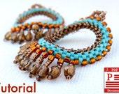 DIY Pattern Beading tutorial Native American Style earrings  PDF file gift idea Beadwork stitch earrings