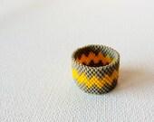 Modern geometric chevron  Custom band ring Grey yellow zig zag  Seed bead jewelry. gift idea for him