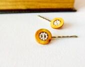 Mustard yellow seed beaded hair bobby pins. Bird nest