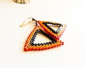 Africa. Tribal geometric dangle earrings. Triangle Red yellow black  seed bead  fashion jewelry