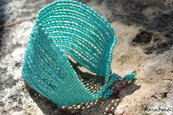 Turquoise Cuff Bracelet. Beadwork Seed beads Spring Summer fashion jewelry  Made to order