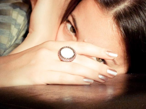 Vintage Style Beadwoven Ring. light amethyst bronze colors,etsy taste test,
