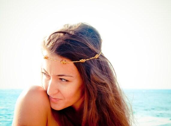 Boho Chic Mustard gold brown beaded crochet headband strand. Versatile necklace / bracelet / anklet / hair band.