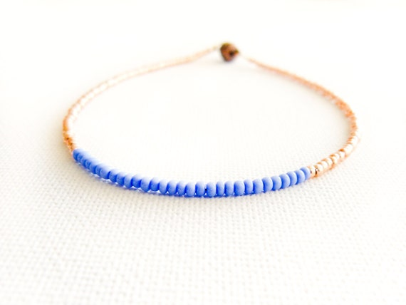 Thin beaded anklet Indigo gold tiny seed bead ankle cuff bracelet. sexy foot jewelry, color blocking,