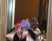 SALE-  was 23 Dollars - Stack of Trio Sachet Wrapped in 2 inch Black Swiss Velvet Ribbon and Adorned with  french Ombre Roses,  velvet leaves