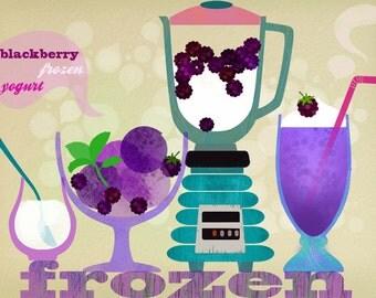 frozen yogurt blackberries-art print limited edition