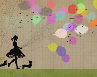 girl with balloons-art print