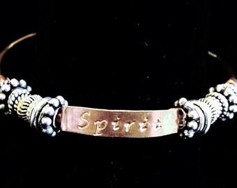 Copper Hand Stamped Rustic Charm Spirit Bracelet