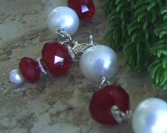 Christmas Red Handmade Fresh Water Pearl and Quartz Bracelet