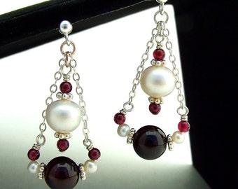 Red Garnet and Pearl Earrings Silver Dangle