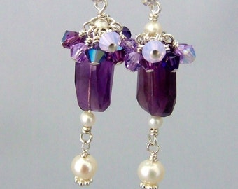 Amethyst and Pearl Earrings Sterling Silver with Swarovski Crystals