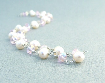 Pearl and Crystal Sterling Silver Necklace