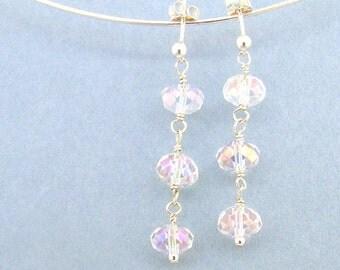 Bridal Crystal Earrings Clear AB and Sterling Silver Drop Earrings Wedding