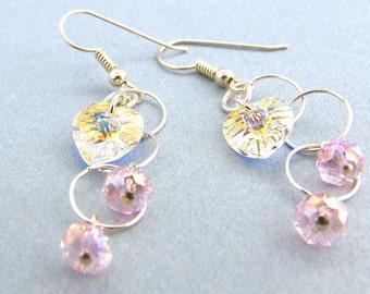 Bridal Swarovski Crystal Hearts and Silver Circles Earrings Handmade Sterling
