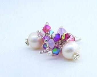 Pearl and Crystal Pink Earrings Swarovski Crystal Cluster Drops