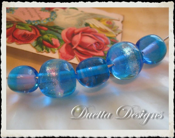 Aqua with Pink Dichroic Glass Lampwork Hand Made Bead Set
