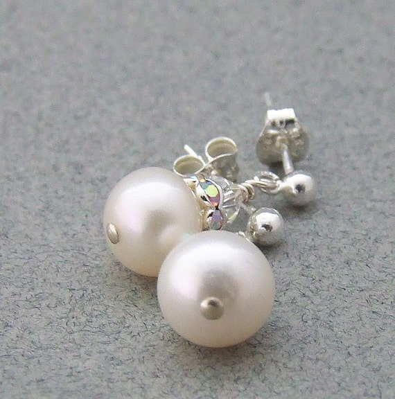 Wedding Jewelry Bridal White Pearl and Crystal Sterling Silver Earrings Wedding Jewelry