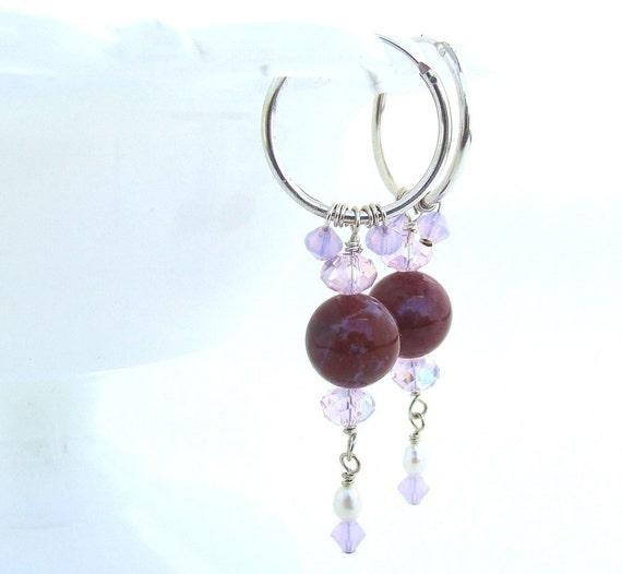 Red Jasper Hoop Earrings with Swarovski Crystal Sterling Silver