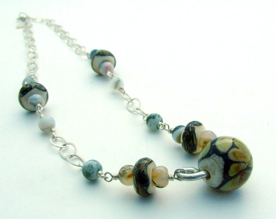 OOAK Handmade Sterling Silver Necklace with Raku Lampwork and Agate