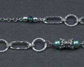 Extra Long Silver Chain and Green Pearl Necklace