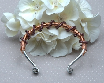 Copper and SIlver Wire Wrapped Bracelet with Purple Seed Bead Spirals
