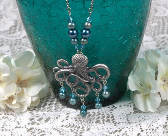 Blue Pearl and Silver Octopus Necklace