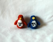 Blue Pi penguin math number needle felted  geekery animal great gift for Chemist or Engineer