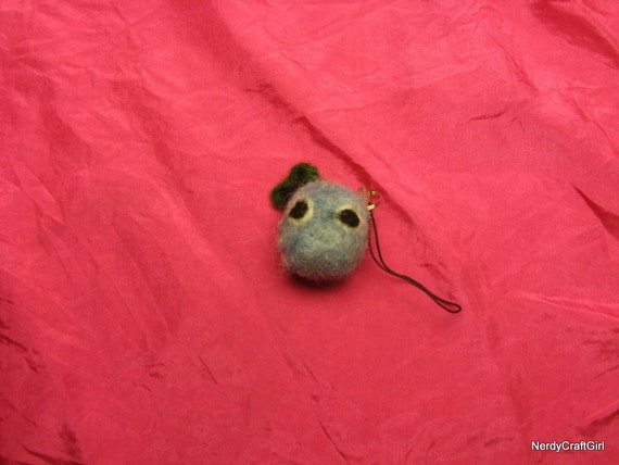 Oxygen atom cell phone charm chemical element needle felted blue