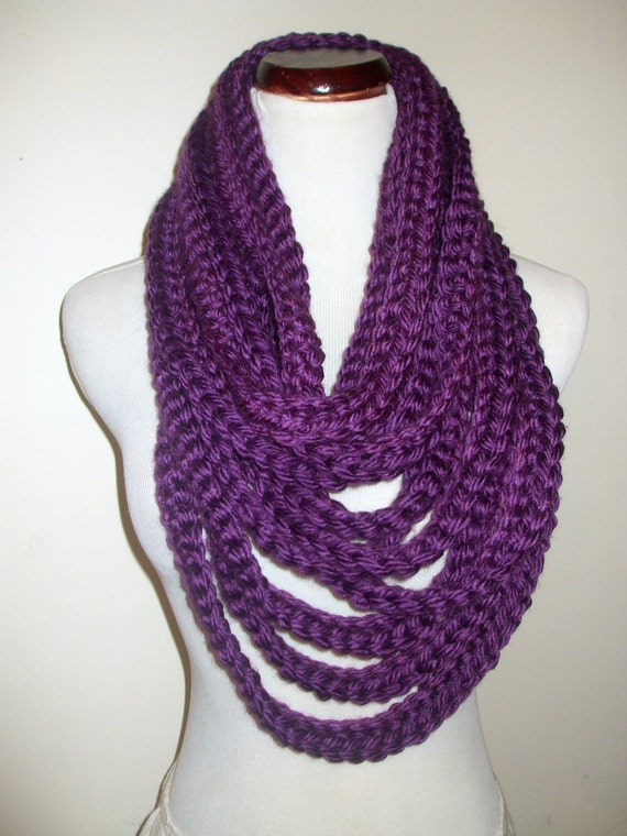 Hand Crochet Chain Warmer, Infinity Scarf, Purple Chain Neckwarmer, Chunky Purple Scarf, Eggplant