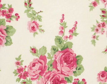 OOP Shabby Chic Fabric by the Yard Barefoot Roses Tanya Whelan Fabric Bouquet in White One Yard