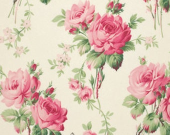 Barefoot Roses Tanya Whelan Stemmed Flowers in White Shabby Chic Cotton Quilt fabric One Yard